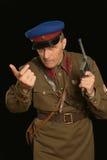 Colonel commander with a gun Stock Photo