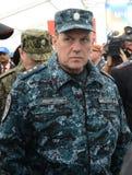 Colonel-général de la police, député Minister de l'intérieur de la Fédération de Russie Arkady Gostev au salon international Photos stock