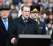 Colonel-général de la police, député Minister du ministère de l'intérieur de la Fédération de Russie Arkady Gostev parle à t photographie stock libre de droits