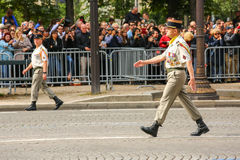 Colonel in Military parade (Defile) during the ceremonial of french national day, Champs Elysee ave Royalty Free Stock Images