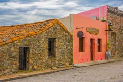 COLONIA DEL SACRAMENTO, URUGUAY - MAY 04, 2016: facade of some old houses with a colonial style.  Stock Images