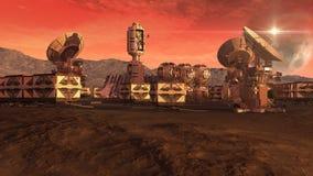 Colonia en un planeta rojo stock de ilustración