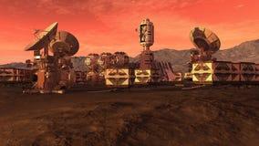 Colonia en un planeta rojo ilustración del vector