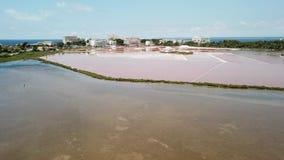 Colonia Sant Jordi, Espanha de Mallorca Paisagem aérea de surpresa do zangão dos planos cor-de-rosa de sal e da praia Estanys filme