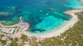 Colonia Sant Jordi, Mallorca Spain. Amazing drone aerial landscape of the charming Estanys beach. Summer time Stock Photography
