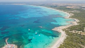 Colonia Sant Jordi, spain. Amazing drone aerial landscape of the charming beaches Estanys and Es Trencs. Summer time Stock Image