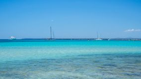 Colonia Sant Jordi, Spain. Amazing landscape of the charming beach Es Trenc royalty free stock photography