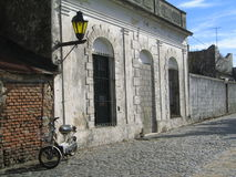 Colonia street. Street in Colonia with motorbike Royalty Free Stock Images