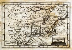 Colonial antigo Nova Inglaterra do mapa da velocidade de 1635 John Fotos de Stock