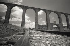 Colonial Aqueduct. Father Tembleque's colonial aqueduct over the railway, Mexico Stock Image