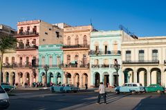 Colonial architectur, Havana, Cuba. Classic cars in front of colorful houses Havana. royalty free stock images