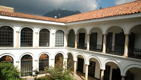 Colonial Architecture. Inner courtyard of coloinial building in Bogota, Colombia Stock Photography