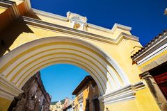 Antigua. Colonial architecture in ancient Antigua Guatemala city, Central America, Guatemala Royalty Free Stock Image