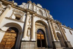 Antigua. Colonial architecture in ancient Antigua Guatemala city, Central America, Guatemala Royalty Free Stock Photo