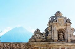 Antigua. Colonial architecture in ancient Antigua Guatemala city, Central America, Guatemala stock photo