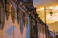 Colonial architecture in antigua city guatemala. Sunset colonial architecture in antigua city guatemala royalty free stock image