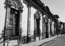 Colonial architecture Mexico. Looking down a small street in a small town, Mexico Royalty Free Stock Images