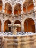 Colonial Architecture in Queretaro Mexico. Photo of fountain and colonial style building in queretaro mexico stock photos