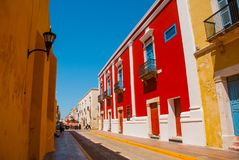 Colonial architecture in San Francisco de Campeche, Mexico. Street with colorful facades of houses. stock image