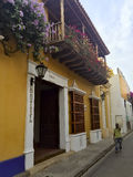 Colonial architecture on street in Cartagena de Indias, Colombia Royalty Free Stock Photos