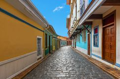 Colonial Architecture in a street of Guayaquil, Ecuador royalty free stock photos