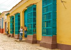 Trinidad Cuba: wooden window guards in colonial house Royalty Free Stock Photos