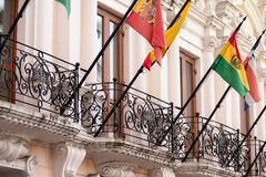 Colonial balconies in Quito, Ecuador. With flags Stock Image