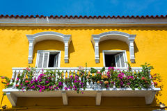 Colonial Balcony in Cartagena Stock Photo