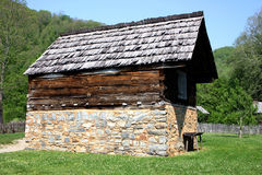 Colonial Barn in National Park. Colonial barn from the 1800's located in Great Smoky Mountains National Park, Oconaluftee Visitor's Center, North Carolina Stock Image