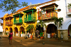 Colonial Buildings. Cartagena de Indias, Colombia. Colorful spanish colonial buildings with wooden balconies at Plaza de los Coches inside the walled city of Stock Photography