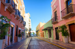 Colonial Campeche, Mexico. View of a historic colonial street in Campeche, Mexico royalty free stock photos