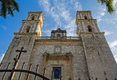 Colonial Cathedral in Mexican town Valladolid. Beautiful Cathedral in sunlight with blue sky Royalty Free Stock Photo