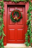 Colonial Christmas Door stock photo