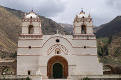 Colonial churcche in Peru, Yanque, Colca canyon Royalty Free Stock Photos
