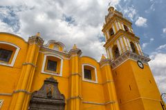 Colonial church in Cholula Mexico stock photography