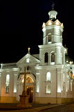 Colonial Church at night. In latin America Cuenca Ecuador royalty free stock photography