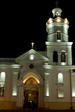 Colonial Church at night. In latin America Cuenca Ecuador royalty free stock photos