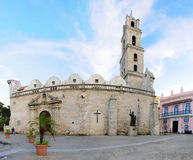 Colonial church in Old Havana plaza Royalty Free Stock Photography