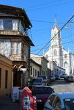 A church in the Old Pacific seaport city of Valparaiso, World Heritage Site and cultural capital of Chile. The colonial city of Valparaíso, Chile, enjoyed a royalty free stock photos
