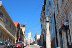 Old Pacific seaport city of Valparaiso, World Heritage Site and cultural capital of Chile. The colonial city of Valparaíso, Chile, enjoyed a privileged status royalty free stock image