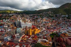 Colonial colorful crowd city and houses of silver mining history, Mexico, American royalty free stock photos
