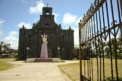 Colonial coral block church philippines Stock Photo