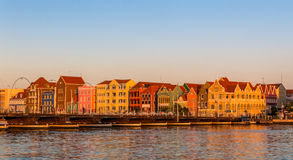 Colonial Dutch Architeture. The Emma pontoon bridge with the Dutch houses at Punda Royalty Free Stock Image