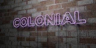 COLONIAL - Enseigne au néon rougeoyant sur le mur de maçonnerie - 3D a rendu l'illustration courante gratuite de redevance illustration de vecteur