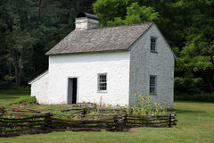 Colonial Era House. This house is located in Hopewell Furnace National Historic Site, Pennsylvania.  It is a part of a restored, early American industrial Stock Photo