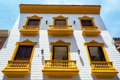 Colonial Facade in Cartagena Royalty Free Stock Images