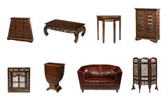 Colonial furniture. Group of colonial furniture on white stock photo