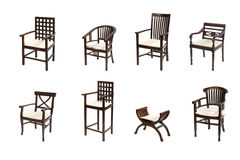 Colonial furniture. Group of colonial chairs on white stock photos