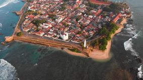 Galle Dutch Fort in Sri Lanka aerial footage. Colonial Galle Dutch Fort in Sri Lanka aerial footage stock footage