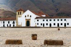 Colonial historical cities in Colombia Villa de Leyva stock photos